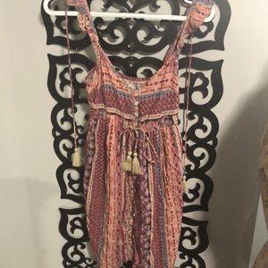 Tribal print summer ruffle and tassel dress